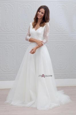 V-neck Sweep-train Simple Backless A-line Wedding Dress LPL120_3