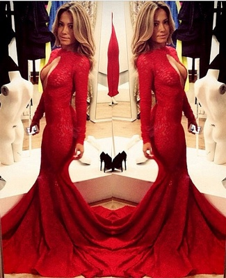 Lace Vintage Retro Mermaid prom Dress UKes UK Red Front Open Long Sleeve Prom Gowns with Sweep Train_1