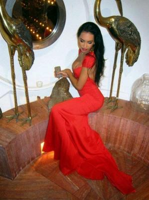 Elegant Cap Sleeve Mermaid Red Prom Dress UK Open Back_3