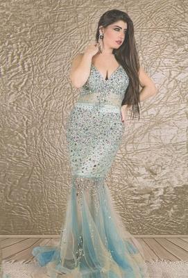 Gorgeous V-neck Sleeveless Mermaid Prom Dress UK With Crystals_1