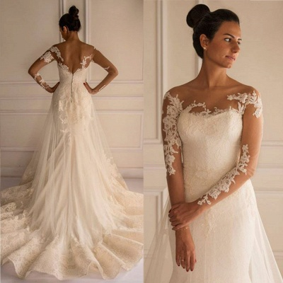 Chic Lace Appliques Sexy Mermaid Tulle Wedding Dress Court Train_2