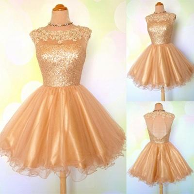 Gold Sequins Appliques Shiny Short Puffy Homecoming Dress UKes UK_3