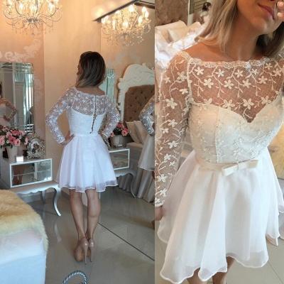 Beautiful White Lace Homecoming Dress UK Short Long Sleeve Cocktail Dress UK_3