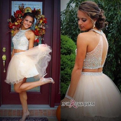 Short Champagne Halter Crystals Mini Discount Open-Back Two-Piece Organza Homecoming Dress UKes UK_2