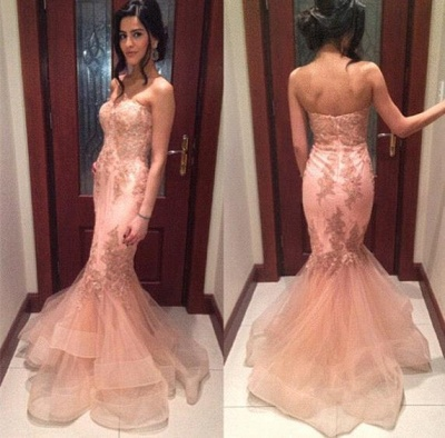 Delicate Lace Appliques Mermaid Prom Dress UK Strapless Sleeveless Sweep Train_3