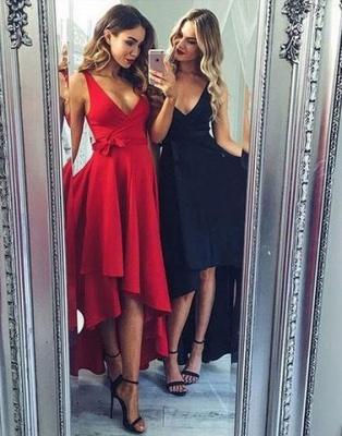 A-line Black Sashes Sexy High-low V-neck Evening Dress UK LPL065_2