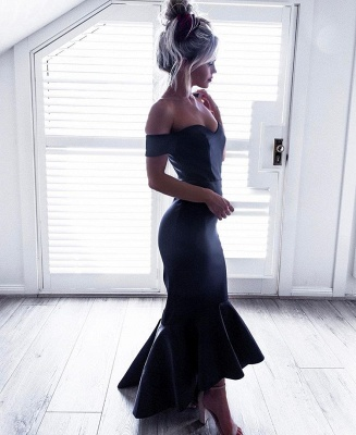 Sexy Black Off the Shoulder Mermaid Ruffles Prom Party Dress UK_3