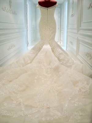 Gorgeous Off-the-shoulder Pearls Wedding Dress Sexy Mermaid Lace Long Train_1