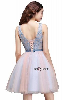 Fairy Sky-Blue V-Neck Puffy Flowers-Beaded Homecoming Dress UKes UK_5