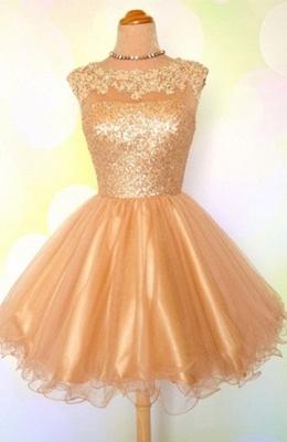 Gold Sequins Appliques Shiny Short Puffy Homecoming Dress UKes UK_2