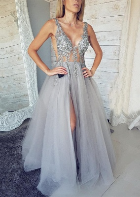Sexy V-Neck Sleeveless Evening Dress UK   2019 Tulle Prom Dress UK With Slit_1