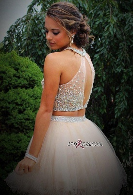 Short Champagne Halter Crystals Mini Discount Open-Back Two-Piece Organza Homecoming Dress UKes UK_3