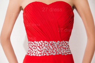 Modern A-line Red Chiffon Evening Dress UK Crystals Knee-length_2