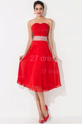 Modern A-line Red Chiffon Evening Dress UK Crystals Knee-length_1