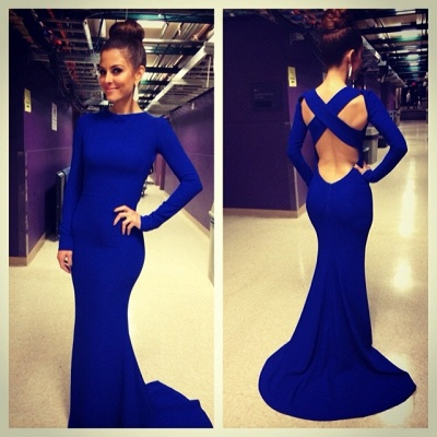De Soiree Robe Mermaid Evening Dress UK High Neck Criss Cross Backless Royal Blue Prom Dress UKes UK with long sleeve_1