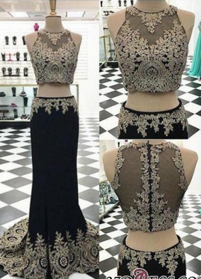 Crystal Sleeveless Appliques Black Two-Pieces Mermaid Prom Dress UK_2