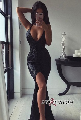 Elegant Sequins Mermaid Prom Dress UK | Black Evening Party Dress UK With Slit_2