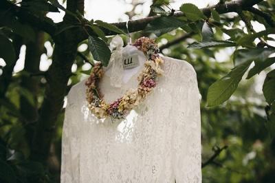 Elegant Long Sleeve Halter Wedding Dress Lace Open Back_4