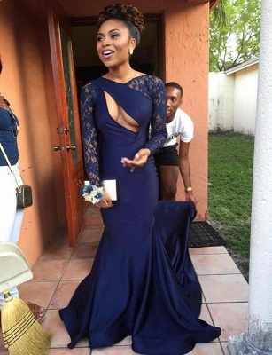 Elegant Navy Long Sleeve Prom Dress UK Lace Mermaid Long Party Gowns On Sale_1