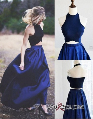 Navy Blue Puffy Sexy Two-Piece Prom Dress UKes UK_1