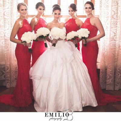Elegant Halter Sleeveless Mermaid Red Bridesmaid Dress UK Sweep Train_2