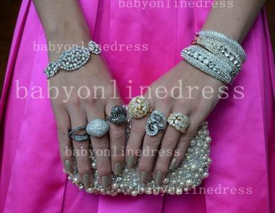 Pink Elegant Vestidos Vintage Prom Dress UKes UK Long Jewel Ruffles Evening Dress UKes UK With Beaded Crystal_2