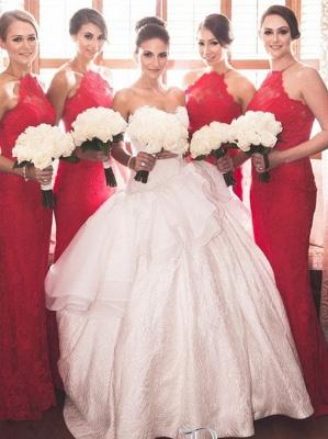 Elegant Halter Sleeveless Mermaid Red Bridesmaid Dress UK Sweep Train_1