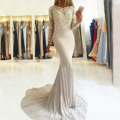 Sexy Long-Sleeve Lace Prom Dress UK | Mermaid Evening Party Gowns_3
