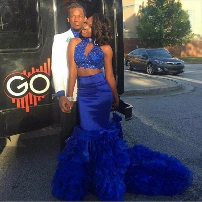 Royal blue mermaid prom Dress UK, two pieces evening gowns BK0_3