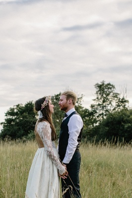 Elegant Long Sleeve Halter Wedding Dress Lace Open Back_5