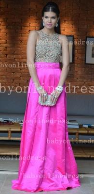 Pink Elegant Vestidos Vintage Prom Dress UKes UK Long Jewel Ruffles Evening Dress UKes UK With Beaded Crystal_1
