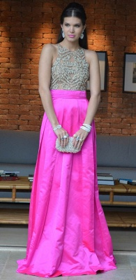 Pink Elegant Vestidos Vintage Prom Dress UKes UK Long Jewel Ruffles Evening Dress UKes UK With Beaded Crystal_4