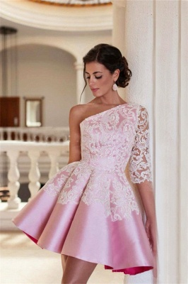 Lovely One Sleeve Lace Appliques Homecoming Dress UK Pink Short Prom Dress UK_1