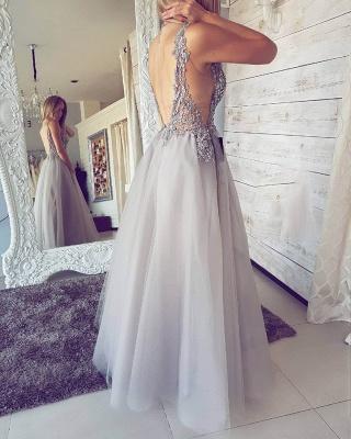 Sexy V-Neck Sleeveless Evening Dress UK   2019 Tulle Prom Dress UK With Slit_3