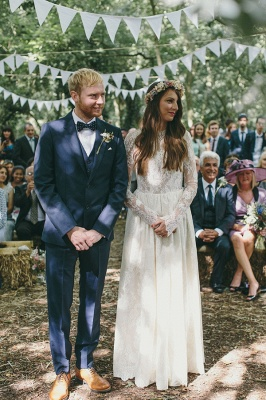 Elegant Long Sleeve Halter Wedding Dress Lace Open Back_1