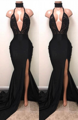Elegant Black Mermaid Prom Dress UK | V-Neck Evening Dress UK With Slit_1