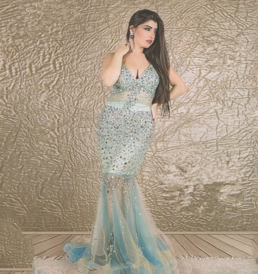 Gorgeous V-neck Sleeveless Mermaid Prom Dress UK With Crystals_2