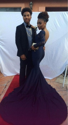 Elegant Navy Long Sleeve Prom Dress UK Lace Mermaid Long Party Gowns On Sale_3