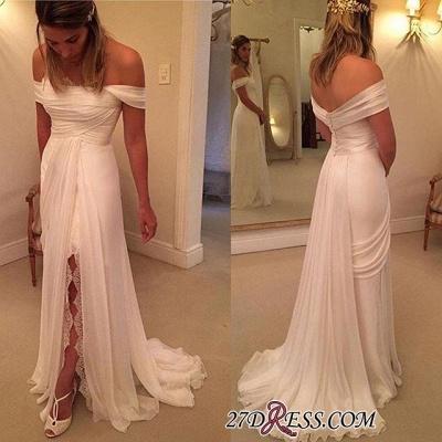 Long Wedding  Off-the-Shoulder Split Lace Dress Zipper_1