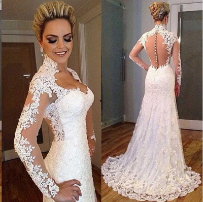 Elegant Lace Appliques High Neck Wedding Dress Long Sleeve Zipper Button Back_3