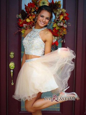 Short Champagne Halter Crystals Mini Discount Open-Back Two-Piece Organza Homecoming Dress UKes UK_4