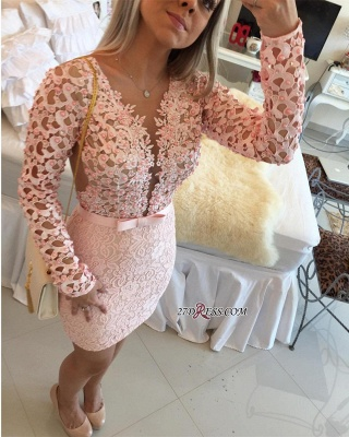 Appliques Mini Delicate Long-Sleeve Pearls Lace Tight Homecoming Dress UK_3