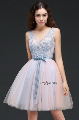 Fairy Sky-Blue V-Neck Puffy Flowers-Beaded Homecoming Dress UKes UK_6
