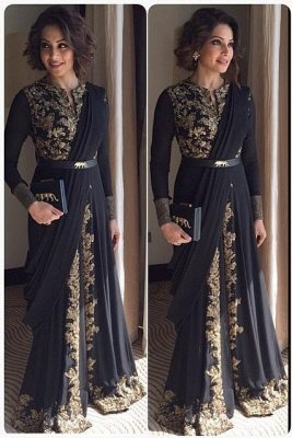 Sexy Long Sleeve Black Prom Dress UK With Appliques Floor-length_1