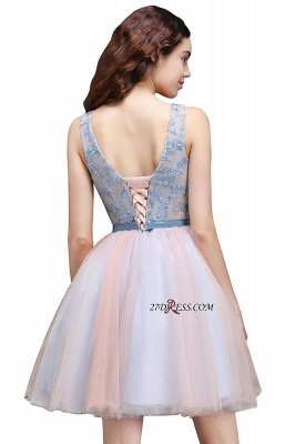 Fairy Sky-Blue V-Neck Puffy Flowers-Beaded Homecoming Dress UKes UK_5