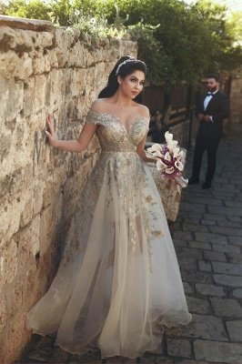 Off-the-Shoulder Prom Dress UK | Tulle Lace Appliques Evening Gowns_1