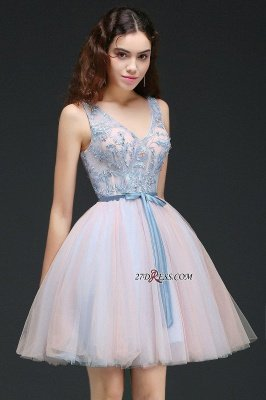 Fairy Sky-Blue V-Neck Puffy Flowers-Beaded Homecoming Dress UKes UK_2