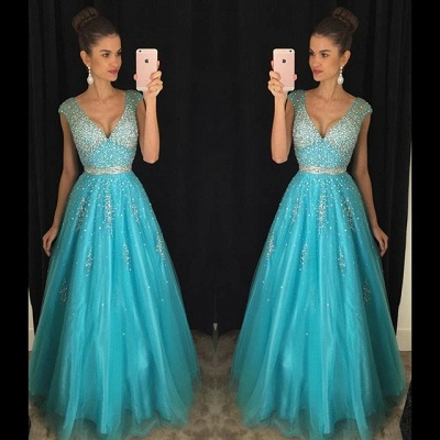 Sexy V-Neck Beadings Prom Dress UKes UK Long A-Line Tulle AP0_3