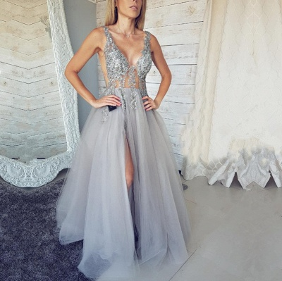 Sexy V-Neck Sleeveless Evening Dress UK | 2019 Tulle Prom Dress UK With Slit_4