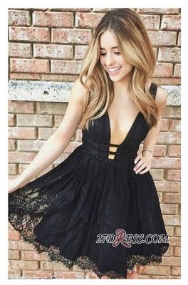 Short Lace Sleeveless Elegant Deep-V-Neck Black Homecoming Dress UKes UK_2